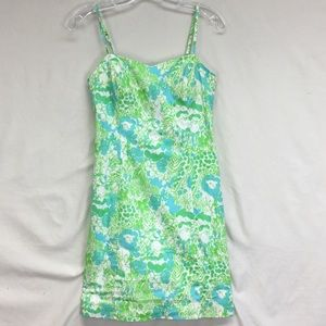 Lilly Pulitzer Green Strap Back Tie Mini Dress